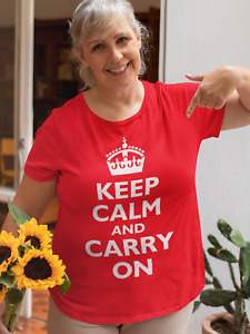 """""""Keep Calm and Carry On"""" Supporting Virus Workers Women's War Slogan T-shirt"""