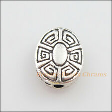 12Pcs Tibetan Silver Tone Flower Oval Flat Spacer Beads Charms 9x11mm