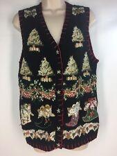 Tiara Christmas Sweater Vest Womens Petite Large L Trees Stockings Black Vtg '00