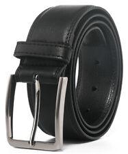 Men's Leather Dress Belt Silver Single Prong Buckle Belts for Men