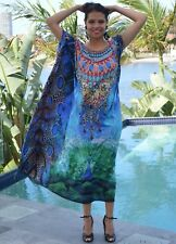 Silk Blend Box Kaftan with Heavily Embellishment, Free size