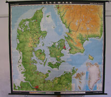 Schulwandkarte Dänemark 186x178 1969 vintage kingdom of denmark school wall map