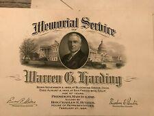Warren Harding Memorial Service card 1923 White House Reception invitation 1922