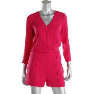 Ted Baker NWT no belt womens Pink Long Sleeves Surplice Pintuck Romper 2