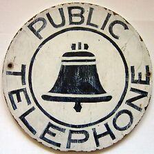 Vintage Public Telephone wood sign