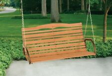 High Back Wood Porch Swing Patio Garden 2 Person Durable Hanging Seat w Chains