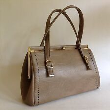 Weymouth American Mushroom Faux Leather Fabric Lined 1960s Vintage Handbag