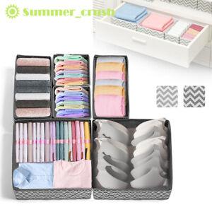 6 x Foldable Storage Underwear Sock Bra Tie Draw Divider Organiser Container Box