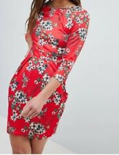 QED London - 3/4 Sleeve Tulip Dress In Red Floral Print, UK 8, Brand New