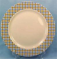 Essential Home Dinner Plate Blue & Brown Plaid Border Country