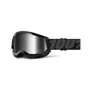 100 Percent Strata 2 Black Silver Mirror Lens Motocross Goggles