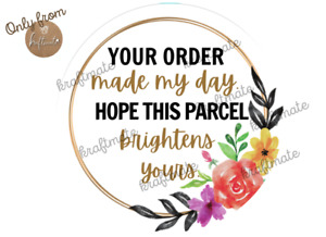 50pcs 25mm Thank You Sticker Your Order Made my day Sticker Thank You Business