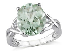 4.30 Carat (ctw) Green Amethyst Ring in Sterling Silver with Accent Diamonds