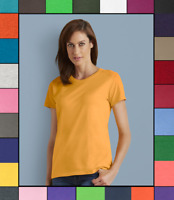 Gildan Womens Plain T Shirt Solid Cotton Short Sleeve Blank Tee Top Shirts G500L