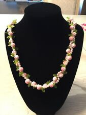 "vintage white beads with larger ""rose"" beads with green leaves necklace"