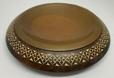 """Mid Century Etched Geometric Design 7.5"""" Wood w Copper Bowl Ashtray / Tray"""