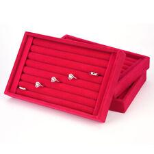 2 Pcs Earring Jewelry Display Organizer Earring Box Tray Velvet Holder
