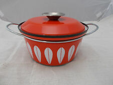 Vintage CathrineHolm Orange Lotus Enamel Casserole Dish with Lid Norway