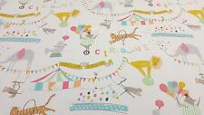 iLiv Roll Up Circus Animals Curtain Upholstery Craft Designer Cotton Fabric
