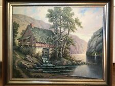 WILLIAM W WRIGHT SHORT HILLS NJ 20th CENTURY 1929 MILL BY THE RIVER OIL PAINTING