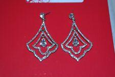 Earrings Crystal Rhinestone Silver Chandelier Statement Tear Drop Wedding Prom