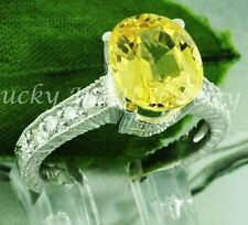 14k Solid White Gold Natural Diamond & Yellow Sapphire Ring   2.00 ct