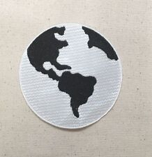 """Black/White Ecology Planet Earth World 4"""" - Iron on Applique/Embroidered Patch"""