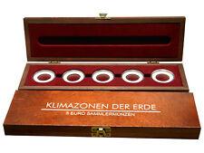 """Holz-Münzkassette für 5 Euro Münzen """"Klimazonen der Erde"""" + Münzkapseln NEU!"""