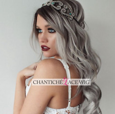 """Ombre Lace Front Wigs Dark Roots&Gray Long Wavy Synthetic Hair Wig for Women 22"""""""