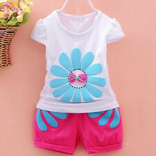 2Pcs Cute Girls Baby Kids Flowers Tops Shirt+Pants Shorts Outfits Clothes L US