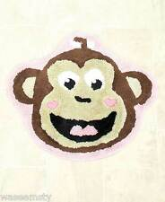 Slumber Party Fun Monkey Girl Brown Pink Heart Bath Rug Mat Decor