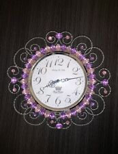 Kids Wall Clock With Pink And Purple Gems