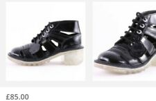 LADIES NEW BLACK PATENT KICKERS KOPEY HI ANKLE BOOTS, UK 6/39