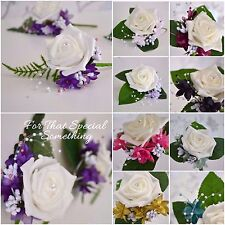 Wedding buttonhole rose flower baby breath and extras purple lilac pink green