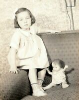 1920s Pretty Young Girl with Vintage Doll Snapshot Photo