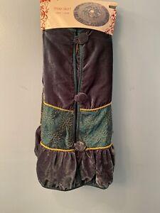 """Velvet Couture Bullseye Design 48"""" Dark Teal Tree Skirt Embellished NEW"""