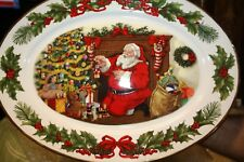"1991 Franklin Mint ""The Night Before Christmas"" Oval Porcelain Serving Platter"