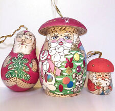 Christmas toy Santa Claus. Boletus. Set of 19 pieces. Handmade.Wooden 7""