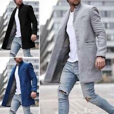 Mens Winter Trench Coat Single Breasted Warm Outwear Long Jacket Overcoat Lot