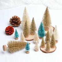 8pcs Small Christmas Tree Fake Pine Tree Sisal Bottle Brush Snow Frost Tree