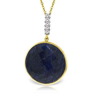 Genuine Sapphire Gem & Diamonds Pendant Necklace in 14K Yellow, White, Rose Gold