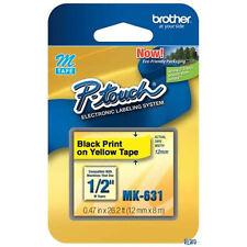 Brother MK631 M 1/2 12mm black print on yellow tape PT65 PT70 PT80 PT85 PT90