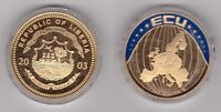 LIBERIA – VERY RARE COLORED 5$ UNC COIN 2003 YEAR ECU 1 EURO
