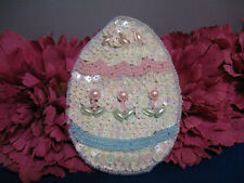 EASTER EGG SEQUIN BEADED PEARLED APPLIQUE 2333-K