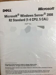 Microsoft Windows Server Standard 2008 R2 x64 Edition 1-4 CPU 5 CAL DELL ONLY
