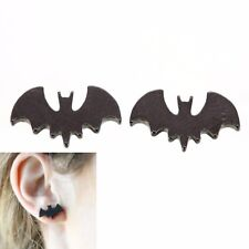 2 Pcs Tiny Black Bat Ear Studs Batman Earrings Halloween Creepy Novelty Jewelry