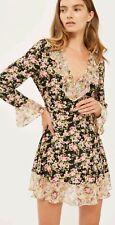 Topshop Romance Black Ditsy Floral Frill Dress 14 Bnwt
