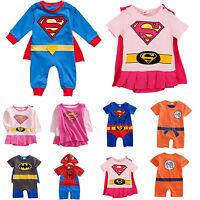 Neonato Bambino Bimbi Bimbe Super Hero Tutina Completo Tutina Intera Costume