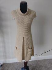 Lovely BCBGirls Tan Cap Sleeve Cowl Neck Wool/Acrylic Sweater Dress Size XSmall