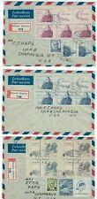 Three 1949 Cerveny Kostelec Czechoslovakia Registry Airmail to Chappaqua NY